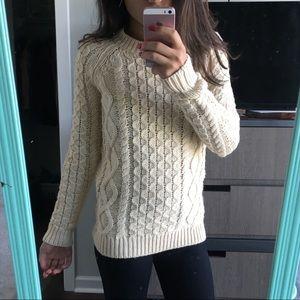 Cream colored knit crew neck sweater